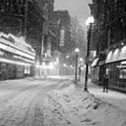 Paramount Snowstorm Boston Ma Washington Street Black And White Poster