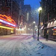 Paramount Snowstorm Boston Ma Washington Street Poster