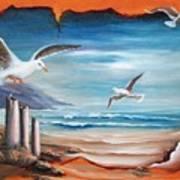 Parchment Seascape Poster by Joni McPherson