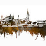 Pardubice Skyline City Brown Poster