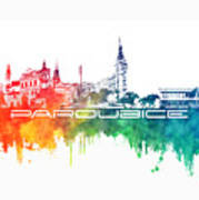 Pardubice Skyline City Color Poster