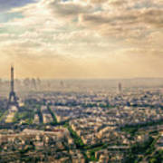 Paris Eiffel Skyline And Cityscape Aerial View At Sunset From Montparnasse Tower Observation Deck  Poster