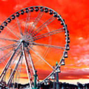 Paris Ferris Wheel Pop Art 2012 Poster