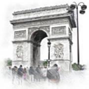 Paris, France  Triumphal Arch  Illustration Poster
