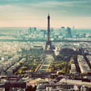 Paris, France Vintage Skyline, Panorama. Eiffel Tower, Champ De Mars Poster