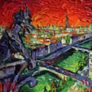 Paris Gargoyle Contemplation Textural Impressionist Stylized Cityscape Poster
