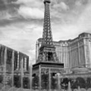 Paris Hotel - Las Vegas B-w Poster