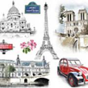 Paris Landmarks. Illustration In Draw, Sketch Style.  Poster