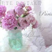 Paris Peonies - Parisian Pink Peonies Pink Aqua French Decor - Paris Floral Wall Art Home Decor  Poster