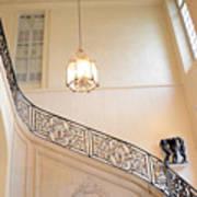 Paris Rodin Museum Staircase - Rod Iron Black Staircase Archictecture - Paris Museum Staircase Print Poster