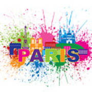 Paris Skyline Paint Splatter Text Illustration Poster