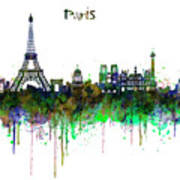 Paris Skyline Watercolor Poster