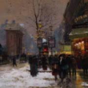 Paris Winter Scene Poster