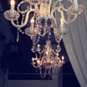 Parisian Crystal Chandelier - Chandelier In Window - Paris Gold Crystal Chandelier Decor Poster