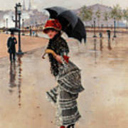 Parisienne On A Rainy Day Poster