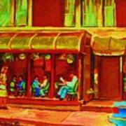 Park Avenue Montreal Cafe Scene Poster