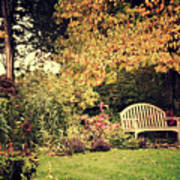 Park Bench, Fall Poster