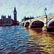 Parliament Across The Thames Poster