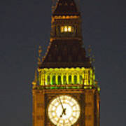 Parliament Tower At Night Poster