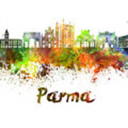 Parma Skyline In Watercolor Poster