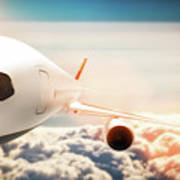 Passenger Airplane Flying At Sunshine, Blue Sky. Poster
