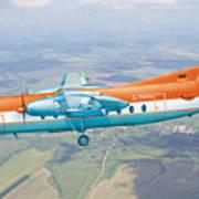 Passenger Plane Fokker 27 During Preparation For Planting  Poster