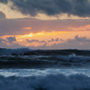 Pastel Sunset Over Stormy Waves Poster