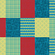 Patchwork Patterns - Muted Primary Poster