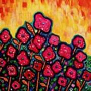 Patchwork Poppies Poster by Brenda Higginson
