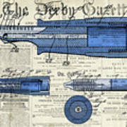 Patent, Old Pen Patent,blue Art Drawing On Vintage Newspaper Poster