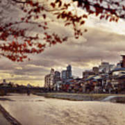 Pathway Along Kamo River In A Beautiful Dramatic Autumn Sunset S Poster