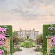 Pathway Leading To A Mansion Through Beautiful Gardens Poster