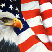Patriotic Eagle And Flag Poster
