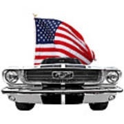 Patriotic Mustang On White Poster
