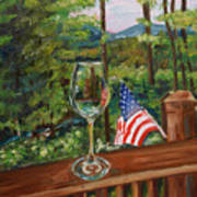 Star Spangled Wine - Fourth Of July - Blue Ridge Mountains Poster