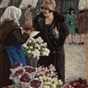 Paul Fischer, 1860-1934, Flower Market In Copenhagen Poster