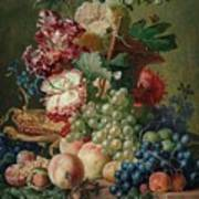 Paulus Theodorus Van Brussel - Still Life Of Flowers And Fruit On A Stone Ledge, Poster