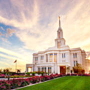 Payson Utah Temple Dramatic View Poster