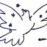 Peace Dove Serigraph In Blue As A Tribute To Pablo Picasso's Lithograph Of Love Bird With Flowers Poster