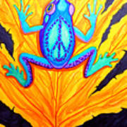 Peace Frog On Fall Leaf Poster