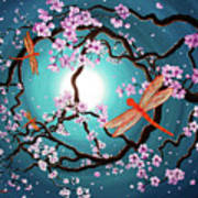 Peace Tree With Orange Dragonflies Poster