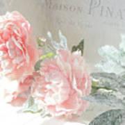 Peach Peonies Impressionistic Peony Floral Prints - French Impressionistic Peach Peony Prints Poster
