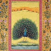 Peacock Dancing Painting Flower Bird Tree Forest Indian Miniature Painting Watercolor Artwork Poster