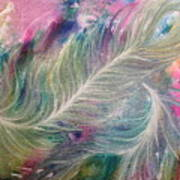 Peacock Feathers Pastel Poster