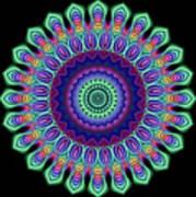 Peacock Fractal Flower 5 Poster