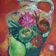 Pear Paintings - French Jug With Pears Poster