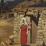 Peasant Carrying Water Poster