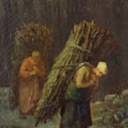 Peasant Women With Brushwood Poster