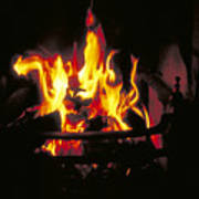 Peat Fire In Ireland Poster