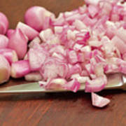 Peeled And Chopped Shallots Poster